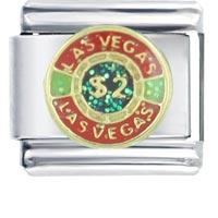 Las Vegas 2 Chip Italian Charms Bracelet Link