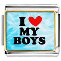 I Heart My Boys Italian Charm Bracelet