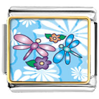 Animal Photo Dragonflies And Flowers Italian Charms Bracelet Link