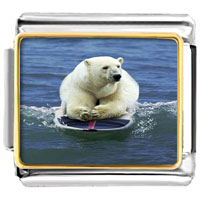 Items from KS - boogie boarding polar bear animal photo italian charms bracelet link Image.