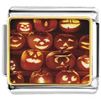 Italian Charms - halloween jack o lanterns italian charms bracelet link photo italian charm Image.