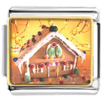 Italian Charms - christmas gingerbread house italian charms bracelet link photo italian charm Image.