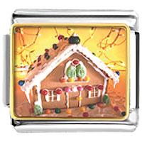 Italian Charms - christmas gingerbread house italian charms bracelet link photo italian charm Image.