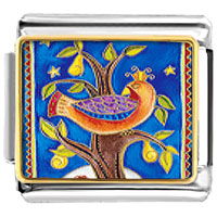 Italian Charms - christmas tree gifts partridge in a pear animal photo italian charms bracelet link Image.