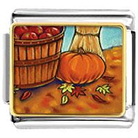 Italian Charms - autumn jack o lantern halloween pumpkin charm photo italian charm Image.