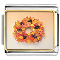 Italian Charms - autumn leaf wreath italian charms bracelet link photo italian charm Image.