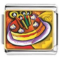 Italian Charms - cubist birthday cake italian charms bracelet link photo italian charm Image.