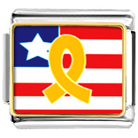Italian Charms - usa flag &  yellow ribbon italian charms bracelet link photo italian charm Image.