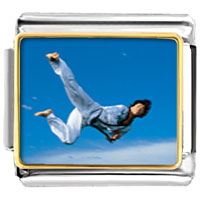Italian Charms - karate kick sports italian charms bracelet link photo italian charm Image.