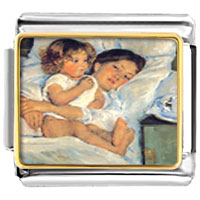 Italian Charms - mary cassatt' s breakfast in bed italian charms bracelet link photo italian charm Image.