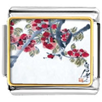 Italian Charms - apricot blossoms art italian charms bracelet link photo italian charm Image.