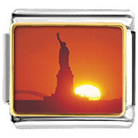 Italian Charms - statue of liberty sunset flag italian charm bracelet bracelet link photo italian charm Image.