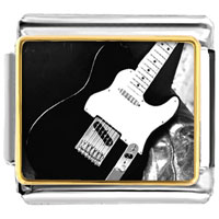 Italian Charms - black electric guitar musical italian charms bracelet link photo italian charm Image.