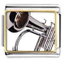 Italian Charms - silver tone trumpet musical italian charms bracelet link photo italian charm Image.