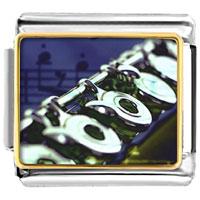 Flute Music Musical Italian Charms Bracelet Link