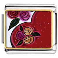 Italian Charms - heart and flowers italian charm bracelet photo italian charm Image.
