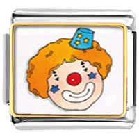 Italian Charms - clown face enamel italian charms bracelet link photo italian charm Image.