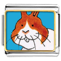 Italian Charms - animal photo smiling bunny rabbit italian charms bracelet link photo italian charm Image.