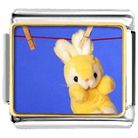 Italian Charms - animal photo clothesline bunny rabbit italian charms bracelet link photo italian charm Image.