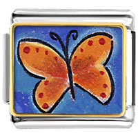 Items from KS - orange butterfly animal photo italian charms bracelet link Image.