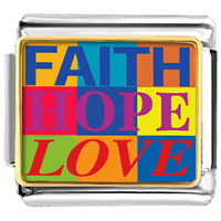 Faith Hope Love Italian Charm Bracelet