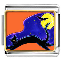 Items from KS - halloween black cat and bat animals italian charms bracelet link photo italian charm Image.