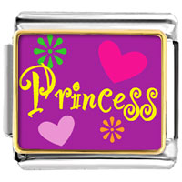 Princess Hearts And Flowers Valentine Italian Charm Bracelet Bracelet Link