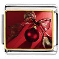 Italian Charms - red christmas ornament with ribbon italian charms bracelet link photo italian charm Image.