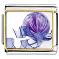 Italian Charms - purple christmas ornament with ribbon italian charms bracelet link photo italian charm Image.