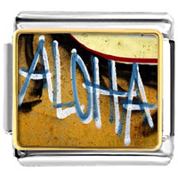 Italian Charms - aloha on the hawaii sand italian charms bracelet link photo italian charm Image.