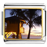 Italian Charms - tropical beach lifeguard hut italian charm bracelet bracelet link photo italian charm Image.