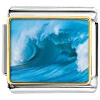 Italian Charms - cresting blue wave italian charms bracelet link photo italian charm Image.