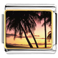 Italian Charms - palms under tropical sunset italian charm bracelet bracelet link photo italian charm Image.
