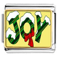 Snow Covered Joy Christmas Italian Charms Bracelet Link