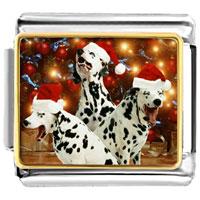 Italian Charms - santa claus christmas gift dalmatian dogs italian charms bracelet link photo italian charm Image.