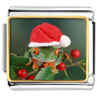 Italian Charms - santa claus christmas gift holly hopping frog italian charms bracelet link photo italian charm Image.