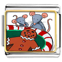 Italian Charms - mice eating gingerbread man cookie christmas italian charms bracelet link photo italian charm Image.