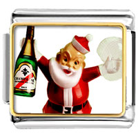 Italian Charms - santa claus christmas gift champagne italian charms bracelet link photo italian charm Image.