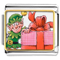Italian Charms - santa claus christmas gift helper italian charms bracelet link photo italian charm Image.