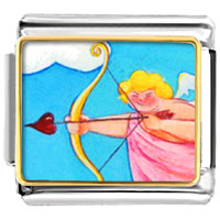 Italian Charms - cupid with golden bow italian charms photo italian charm Image.