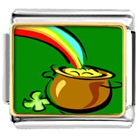 Items from KS - golden italian charm bracelet pot of gold photo italian charm Image.