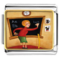 Italian Charms - teacher using blackboard italian charms bracelet link photo italian charm Image.