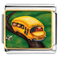 Italian Charms - yellow school bus italian charms bracelet link photo italian charm Image.