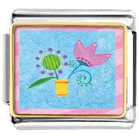 Italian Charms - pink tulip flower italian charms bracelet link photo italian charm Image.