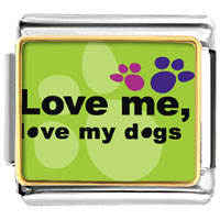 Love Dogs Photo Italian Charm Bracelet