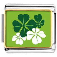 Green Four Leaf Clovers Italian Charms Bracelet Link