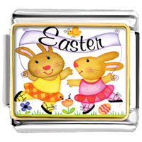 Italian Charms - easter bunnies italian charms bracelet link photo italian charm Image.