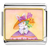 Italian Charms - easter bunny with flowers italian charms bracelet link photo italian charm Image.