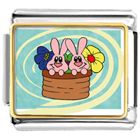 Italian Charms - bunnies in a basket italian charms bracelet link photo italian charm Image.