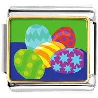 Italian Charms - colorful easter eggs italian charms bracelet link photo italian charm Image.